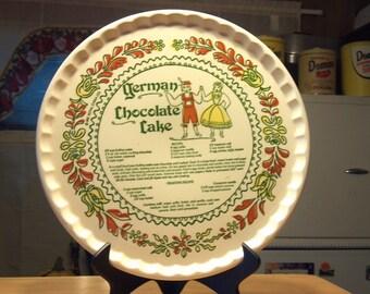 "ROYAL CHINA COMPANY 11 1/2"" german chocolate cake 1983 recipe cake plate"