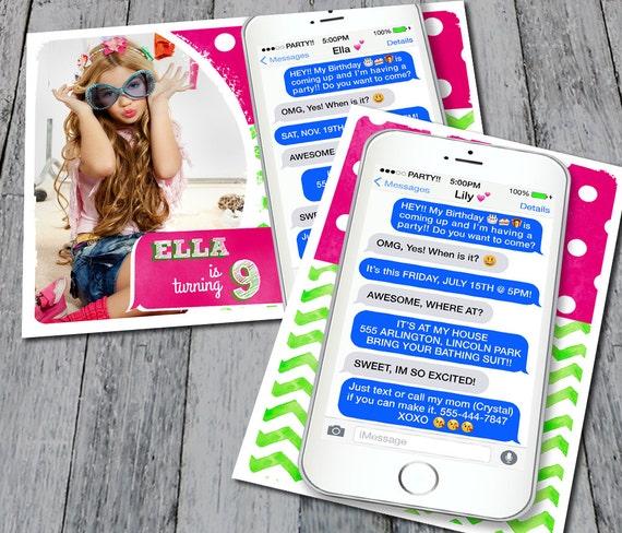 Text Message Birthday Invitation Digital