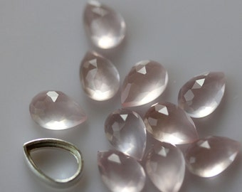 9mm x 6mm Teardrop Rose Cut  Rose Quartz - 1 Cab