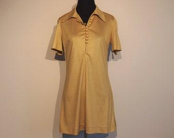 Vintage 1970 Shelana Mini Dress from London, England; 70's Summer Dress