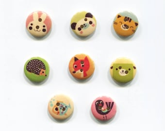 small animal buttons 15mm, wood, animal choice