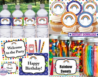 Rainbow Party Package, Instant download, bright colors, rainbow party, banner, cupcake toppers, favor tags, water bottle wrappers and more