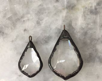 """Soldered Crystal Pendant, French Teardrop 1.5"""" OR 2"""", Faceted Chandelier, Handmade, Necklace, Handmade"""