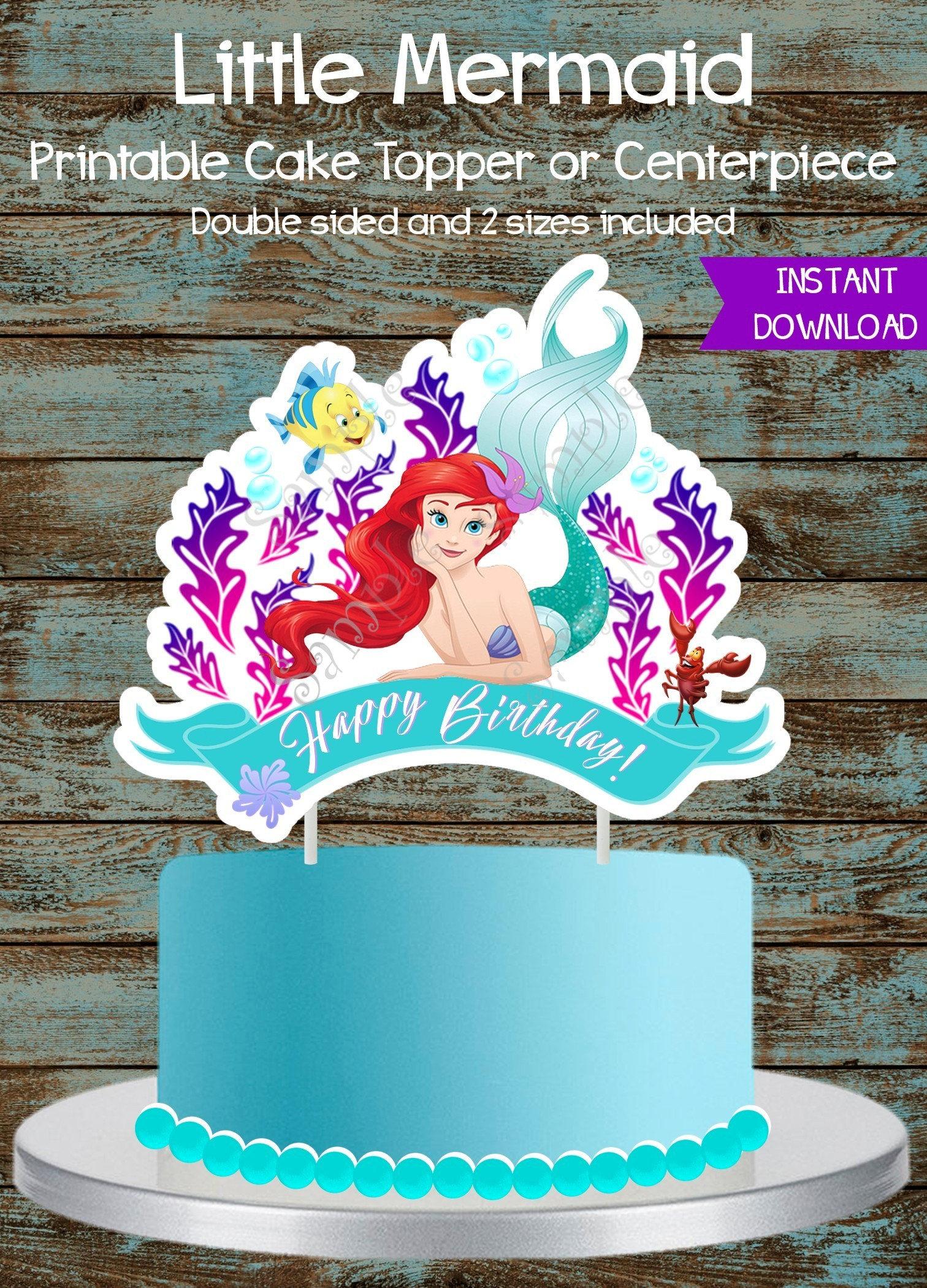 Little Mermaid Cake Topper Little Mermaid Printable