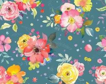 Chelsea Market Yorkshire Blooms Blue - Blend Fabrics by Brenda Walton premium cotton limited edition by the yard by the fat quarter floral