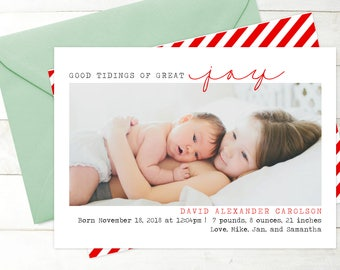 Good Tidings of Great Joy - Holiday Photo Card Birth Announcement - Christmas Birth Announcement - Digital or Printable Baby Christmas Card