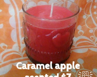 Caramel apple scented soy candle