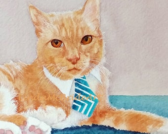 Yellow Cat with Tie 3x3 Gift Enclosure Card with Envelope