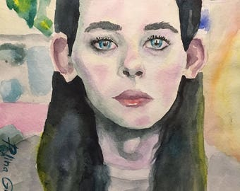 Watercolor girl portrait beautiful