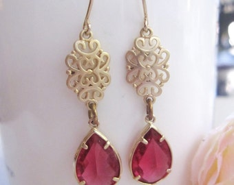 Gold Filigree earrings, Red Teardrop, Valentines Day, Gold Oriental Dangle, Bridesmaid, Gift for Her, Redpeonycreations