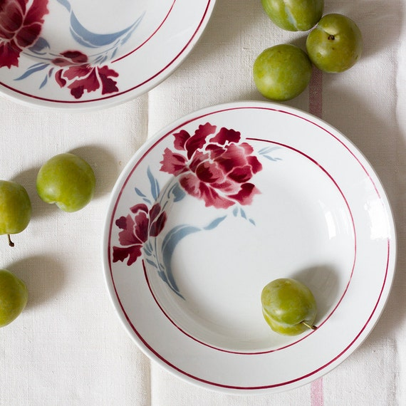 French Vintage Peony Soup Plates - Set of 4