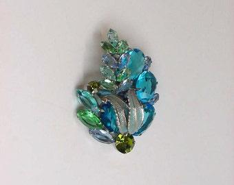 Weiss Rhinestone Flower Brooch Pin 60's Aqua Blue Green Borealis Crystal Stones Silver Enamel Leaves Vintage Signed Designer Costume Jewelry