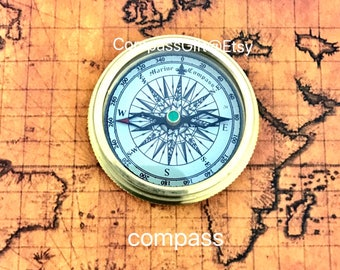 Marine  Brass Pocket Compass with Leather Case - Brass pocket compass - Christmas Gift