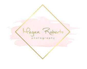 Pre-made Logo Design & Photography Watermark - Watercolor logo - Gold Logo - Square Watermark Design - Photography Logo - square Logo 764