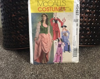Costume pattern pirate princess devil or gypsy pull over costume dress shirred skirt UNCUT McCalls M5497 misses size AA 6-12 party Halloween