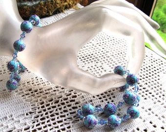 Beaded Stretch Bracelet in Poly Clay Beads, Swarovski Crystals and Glass Seed Beads