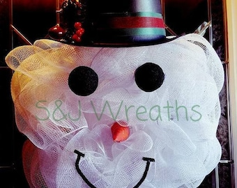 Snowman Wreath/Mesh Snowman Wreath/Snowman Head/White Wreath/Snow/Snow Wreath/Snowman Christmas Wreath/Christmas Wreath/Winter Wreath