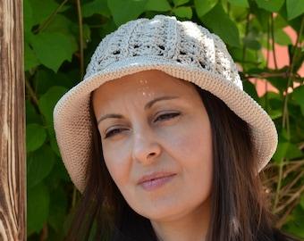 cloche sun hat, cotton sun hat, floppy beach hat, women sun hat, beige sun hat, lace crochet hat, brimmed hat, crochet bucket hat
