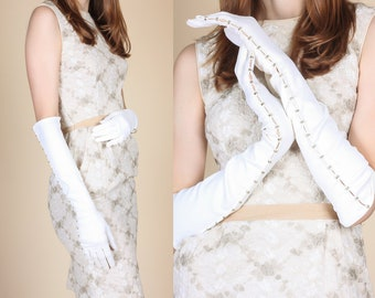 Vintage 1950s Crystal Beaded Long White Evening Gloves