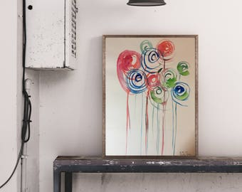 Original watercolor watercolor painting image art abstract Watercolor painting abstract painting minimal
