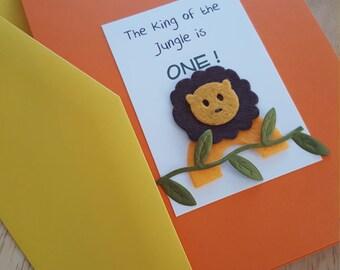 Roaring Lion Jungle Orange and Yellow Folded Birthday Invitation