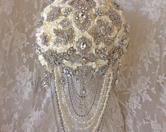 Custom Ivory Cascading Brooch Bouquet, Available in Many Colors, Rush Orders Welcome, Deposit only 150.00, Full Price 450.00 & Up