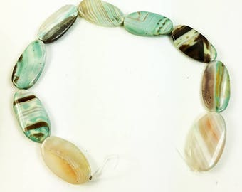 Agate Beads-Flat Oval Striped Pattern Blue Green Agate Beads