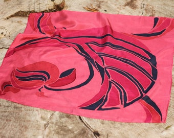 Silk scarf - Hand painted - Square silk scarf - Pink begonia - Inspired by Sydney's botanical beauty