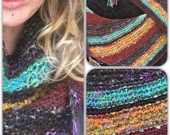 Handspun handknit shawl pixie forest art yarn