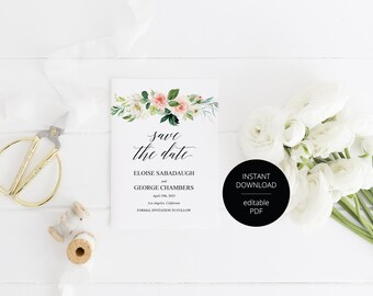 Printable Save the Date Card, Wedding Announcement, Blush Floral,Engagement,Save the Dates,Template,Instant Download  - Eloise