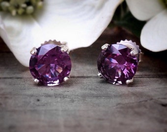 Alexandrite Post Earrings, Sterling Silver Earrings with 8mm Color Change Alexandrite, Bridesmaids Gifts, June Birthstone
