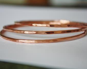 Copper Bangle Bracelet, Hammered Copper Bangles, Stacking Copper Bangles
