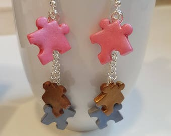 Earrings in polymer clay puzzle pieces