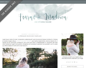 Blogger Template - Mobile Responsive & Dropdown Menu - Watercolor Design Blog - INSTANT DOWNLOAD - Fearne Madison Theme