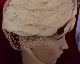 """Vintage ruched and netted hat by """"Valerie Mode"""""""