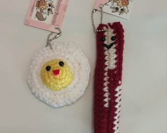 Set of 2 BFF Keychains - Bacon and Eggs