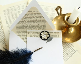 Pride and Prejudice Stationery, Book Lover Gift, Recycled Jane Austen Book, Upcycled Book Stationary, Literary Gift, Mother's Day Gift