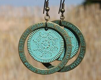 Turquoise Boho Earrings Bohemian Earrings Boho Jewelry Dangle Drop Earrings Bohemian Jewelry Patina Birthday Gift for women Gift for her