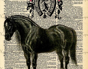 Black Horse Kentucky Derby Dictionary Digital Collage Sheet Image Transfer greeting cards paper supplies printable UPrint 300jpg