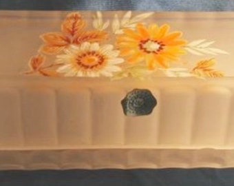 Butter Westmoreland Satin Glass Covered Dish Daisies