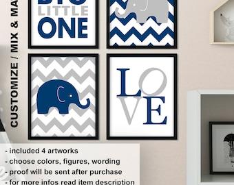 Elephant nursery decor navy, Elephant baby boy room decor, Elephant nursery wall art, elephant baby gift, dream big little one Print/Canvas