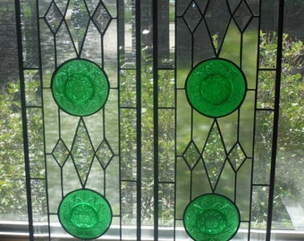 Sparkling Bevels, Sidelight Pair with Vintage Depression Pieces, Beautiful From Inside and Out, Handmade in Stained Glass