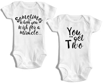 Twin baby gift, matching twin baby outfit