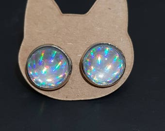 Silver Holographic Unicorn Glass Studs 14mm