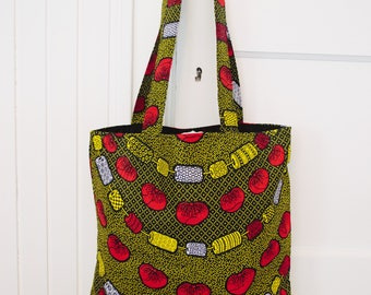Tote Bag in African Wax Print Fabric . Made in Tanzania. Cotton, yellow, black,red. Traditional print shopping bag.