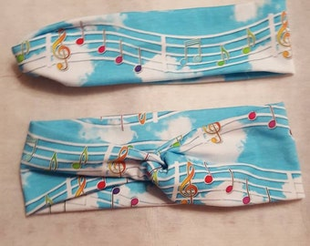 Musical Notes in a blue sky background headband.