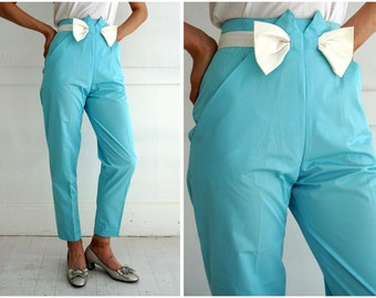 Vintage 1980's Light Blue High-Waisted Cropped Pants with Bow by Courreges Paris | XS