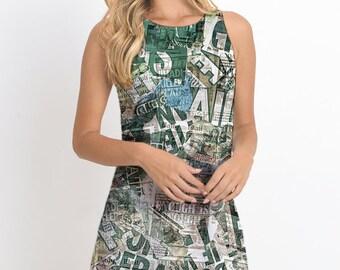Magazines Printed Mini Dress