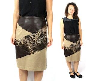 Faux leather shirt, Vegan leather skirt, Animal print skirt, Brown skirt, High waisted skirt, Vintage skirt, High waist skirt / Medium Large
