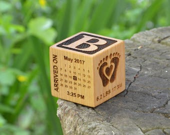 Personalized New Baby Gift Birthday Wooden Block Birth Block Personalized Baby Newborn Block Keepsake Baby Girl Baby Boy Parents New Mommy
